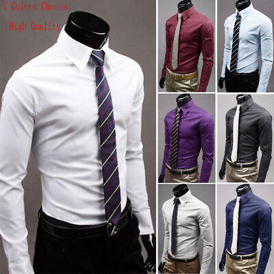 - Men's Slim Fit Long Sleeve Cotton Shirt Solid Casual Button Business Dress Shirt