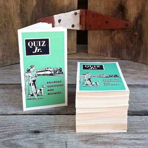 5 Original QUIZ JR RAILROAD QUESTIONS ANSWERS Booklet 1955 Train Book NOS
