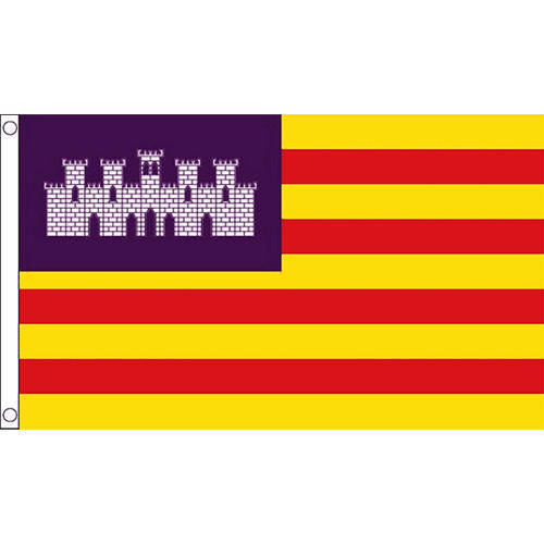 BALEARIC FLAG IN 5X3 WITH PURPLE CREST, RED YELLOW STRIPE, SPANISH PROVENCE FLAG