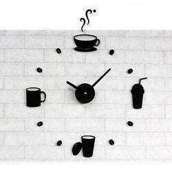 Large Wall Clocks DIY Kitchen Wall Clock Coffee Watch Numbers Unique Black