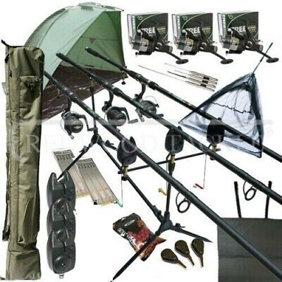 Full Carp Fishing Set up Rods Reels Bite Alarms Rod Holdall Bivvy Shelter Tackle