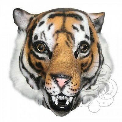 Berühmte Kostüm (Latex ganzer Kopf Tier berühmt Dschungel Raubkatze Tiger Kostüm Karneval Maske)