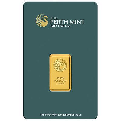 5 Gram Perth Mint Gold Bar (New w/ Assay)