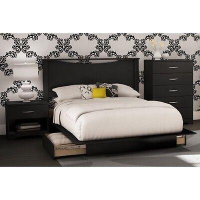 4 Piece Black Queen Full Bedroom Furniture Set Bed Storage Dresser Nightstand ()