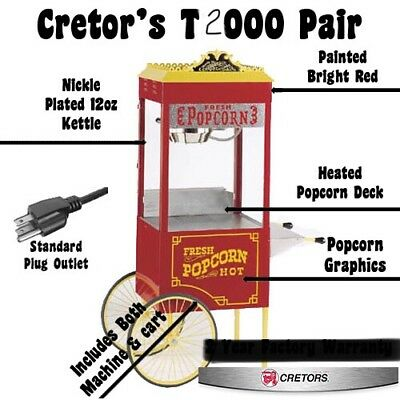 Cretors T2000 8oz Antique Popcorn Popper Wcart Excellent Condition
