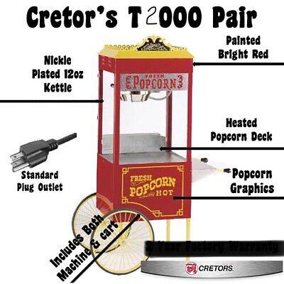 Cretors T2000 8oz Antique Popcorn Popper Wcart Excellent Condition