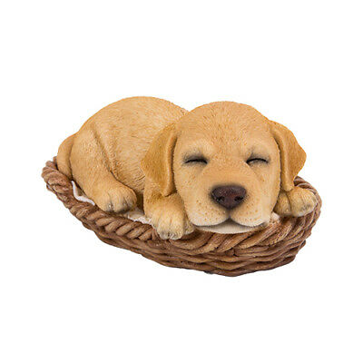 # New WICKER BASKET PUPS Figurine Statue YELLOW LAB DOG PUPPY in Bed Sleeping