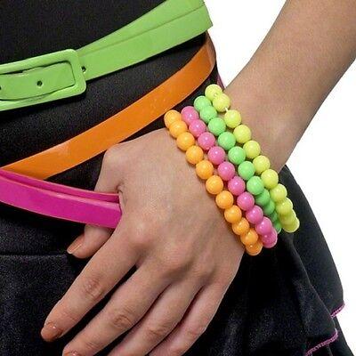 Neonfarbene Kostüme (Damen 80s Jahre 1980s Kostüm Perlen Armband 4er Packung Neon Farben Smiffys)
