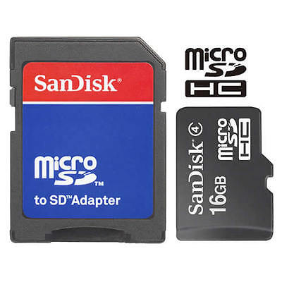 SanDisk 16GB MicroSD Micro SDHC TF Flash Class 4 Memory Card 16G with SD -