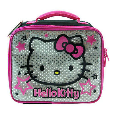 Lunch Bag Insulated HELLO KITTY Silver Glitter Black Pink Stars NEW