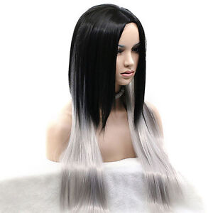 Gorgeous Black with White Straight Long Hair Wig (9) St. John's Newfoundland image 2