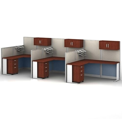 bush office in an hour l-shaped desk cubicle set - wc36494c033kit