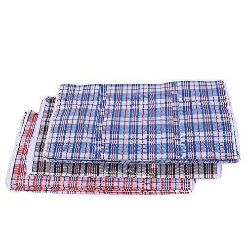 Set of 4 Extra-Large Plastic Checkered Storage Laundry Shopping Bags W. Zipper &