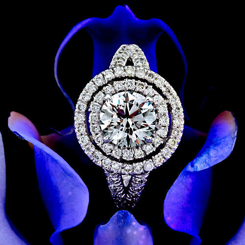 1 CT ROUND CUT DIAMOND ENGAGEMENT RING D/VS ENHANCED 14k WHITE GOLD