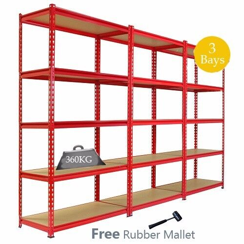 Industrial Racking Heavy Duty Workshop 3 Red Shelving