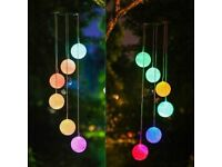 Illuminated Outdoor Solar-Powered Hanging Wind Chime