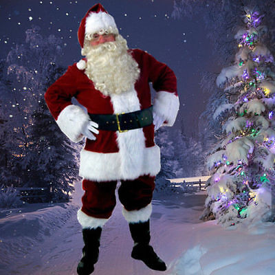 US! Adult Christmas Costume Santa Claus Suit Fancy Dress Deluxe Velvet Full - Deluxe Santa Suit