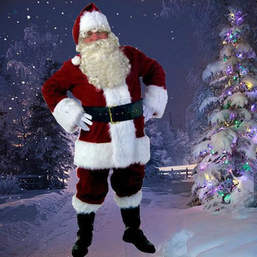 USA Santa Claus Suit Christmas Adult Costumes Fancy Dress Deluxe Velvet Full Set