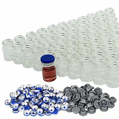 10ml5ml Transparent Glass Vials Plastic-aluminum Caps Rubber Stoppers 100 Pack
