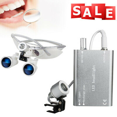 3.5x420mm Dental Oral Binocular Loupes Optical Loupe Led Head Lamp Case Ce