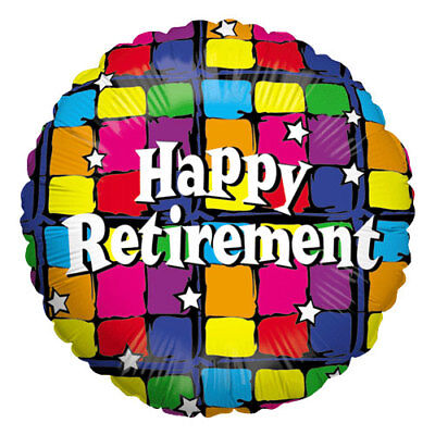 18-Inch Multicolored Squares Happy Retirement - 18 Inch Painted Balloons
