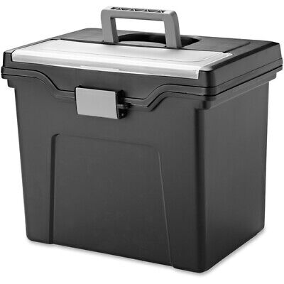 Iris Portable Letter-size File Box With Organizer Lid Black Each Irs110977