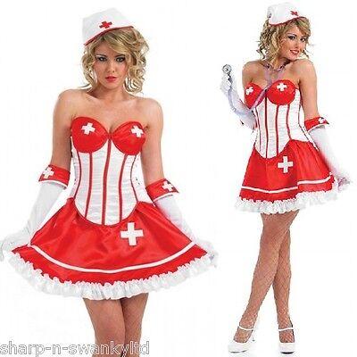 Ladies Sexy Corset Naughty Nurse Hen Do Fancy Dress Costume Outfit 8-26 - Plus Size Nurse Outfit