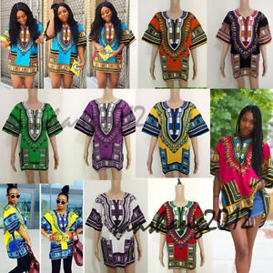 Traditional Men and Woman African Dashiki Shirts and Dress