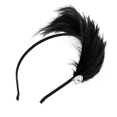 Black Feather Metal Headband Hair Band Fascinator Lady Fashion N3