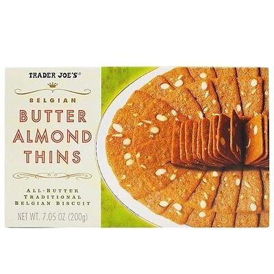 (Trader Joe's Belgian Butter Almond Thins Biscuit Snack Cookies Dessert NEW )