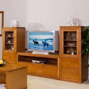 LOCAL MAKE TASSIE OAK 3PCE TV UNIT Villawood Bankstown Area Preview