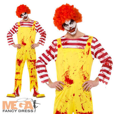Kreepy Killer Clown Mens Fancy Dress Halloween Circus Ronald Mcdonald Costume
