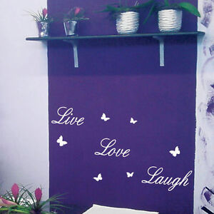 Live-Love-Laugh-Butterfly-Art-Wall-Quote-Stickers-Wall-Decals-Words-Lettering