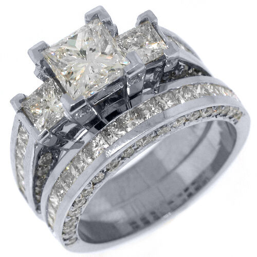 3.5 Carat Diamond Engagement Ring Wedding Band Set Square 3-stone White Gold