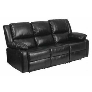 Black Leather Recliner Sofa FLASH FURNITURE BT-70597-SOF-GG - BRAND NEW - FREE SHIPPING