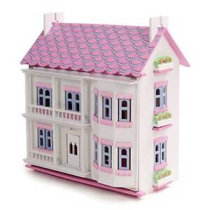 New Pink & White Wooden Dolls Doll House Dollhouse 40 furniture
