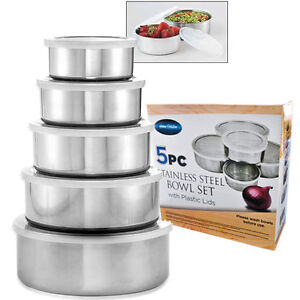 Home Solutions 10PC Stainless Steel Bowl Set with Plastic Lids - Easy Clean!