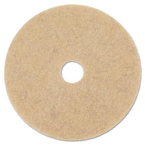 """Natural Hog Hair Burnishing Floor Pads, 20"""" Diameter, 5/Carton"""