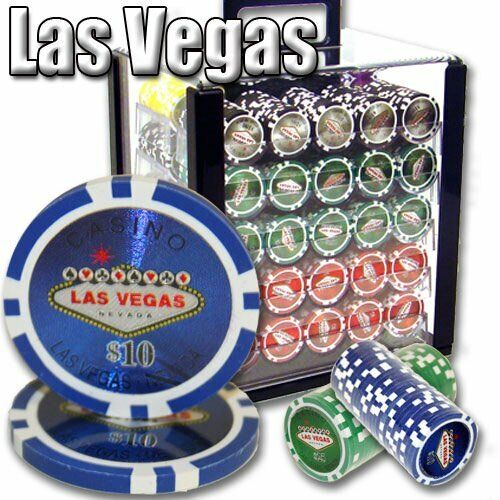 1,000ct. Las Vegas Casino 14g Poker Chip Set in Acrylic Carry Case