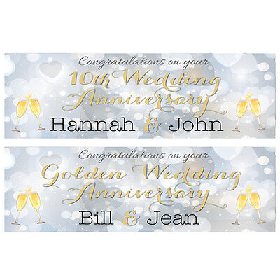 Personalised Anniversary Banners (2 PERSONALISED WEDDING ANNIVERSARY BANNERS - ANY ANNIVERSARY - OR)