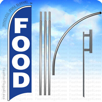 Food Windless Swooper Flag Kit Feather Sign 15 Deluxe Pole Set - Bb