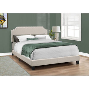 Monarch Upholstered Platform Bed - Double - Beige New in Box