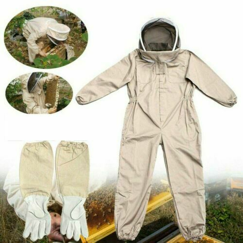 Full Body Anti-bee Suit Beekeeping Clothes Cotton Veil Hood Protective+Gloves XL