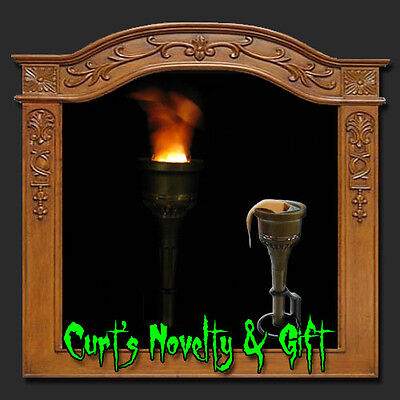 SET OF 4 HALLOWEEN SILK FLAME TORCH LIGHT Haunted House Castle Prop (Halloween Haunted Castle Props)
