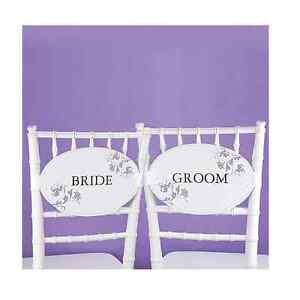 Flourished Bride And Groom Chair Sashes Signs And Wedding