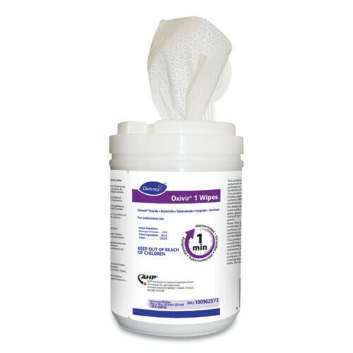 """Diversey 100962573 Oxivir 60/Canister 12/Carton 10""""x10"""" 1 Wipes White New"""