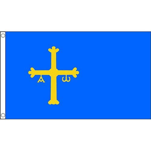ASTURIUS FLAG 5X3 BLUE WITH YELLOW CREST - SPAIN SPANISH PROVENCE FLAG BLUE