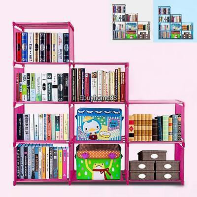 Slotted Display Shelf - New 9 Shelf Bookcase Storage Book Shelving Display Bookshelf 4 Layer 9 Slot