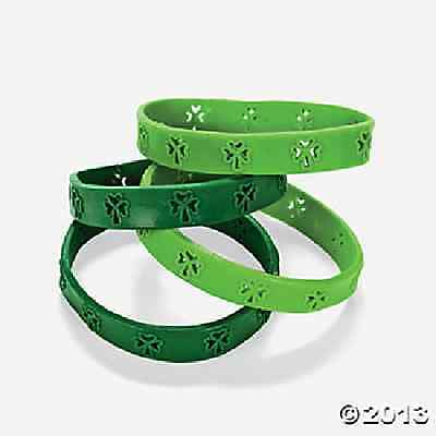 Rubber Cutout Shamrock Bracelet 24 Piece St Patrick's Day Party - Shamrock Cutout