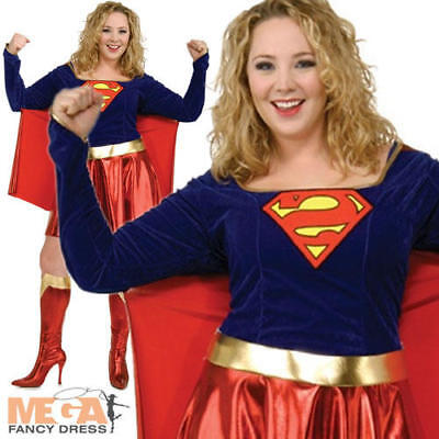 Supergirl Ladies Plus Size XL 18 20 22 Fancy Dress Superhero Movie Costume New (Plus Size Supergirl)